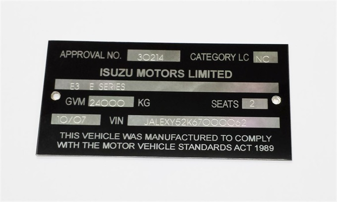 Vehicle Compliance Plates Vin Plate Manufacturer Id Plates